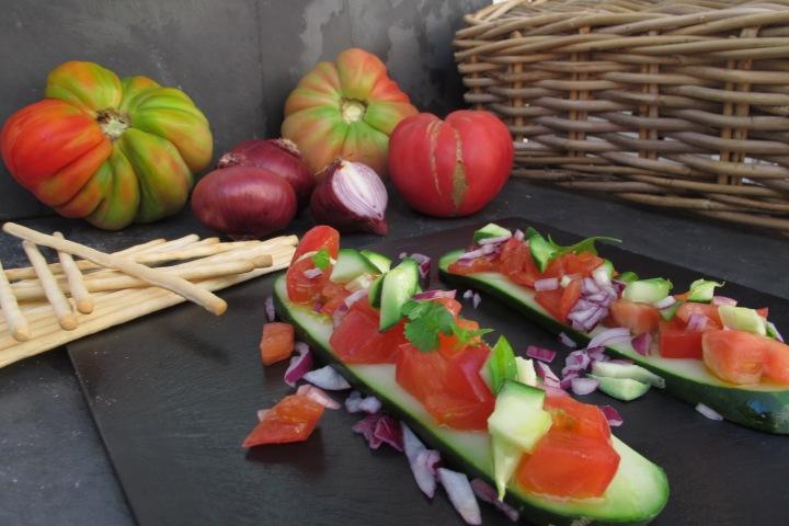 pepino, tomate, salada de pepino e tomate, paddel de Pepino Asiático