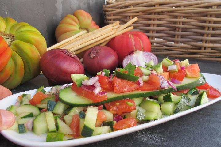 salada de pepino e tomate, gengibre, comida, soja, comida crua