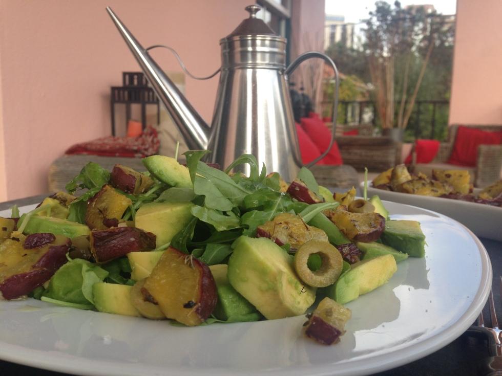 Salada de batata doce e abacate @ cru com pinta