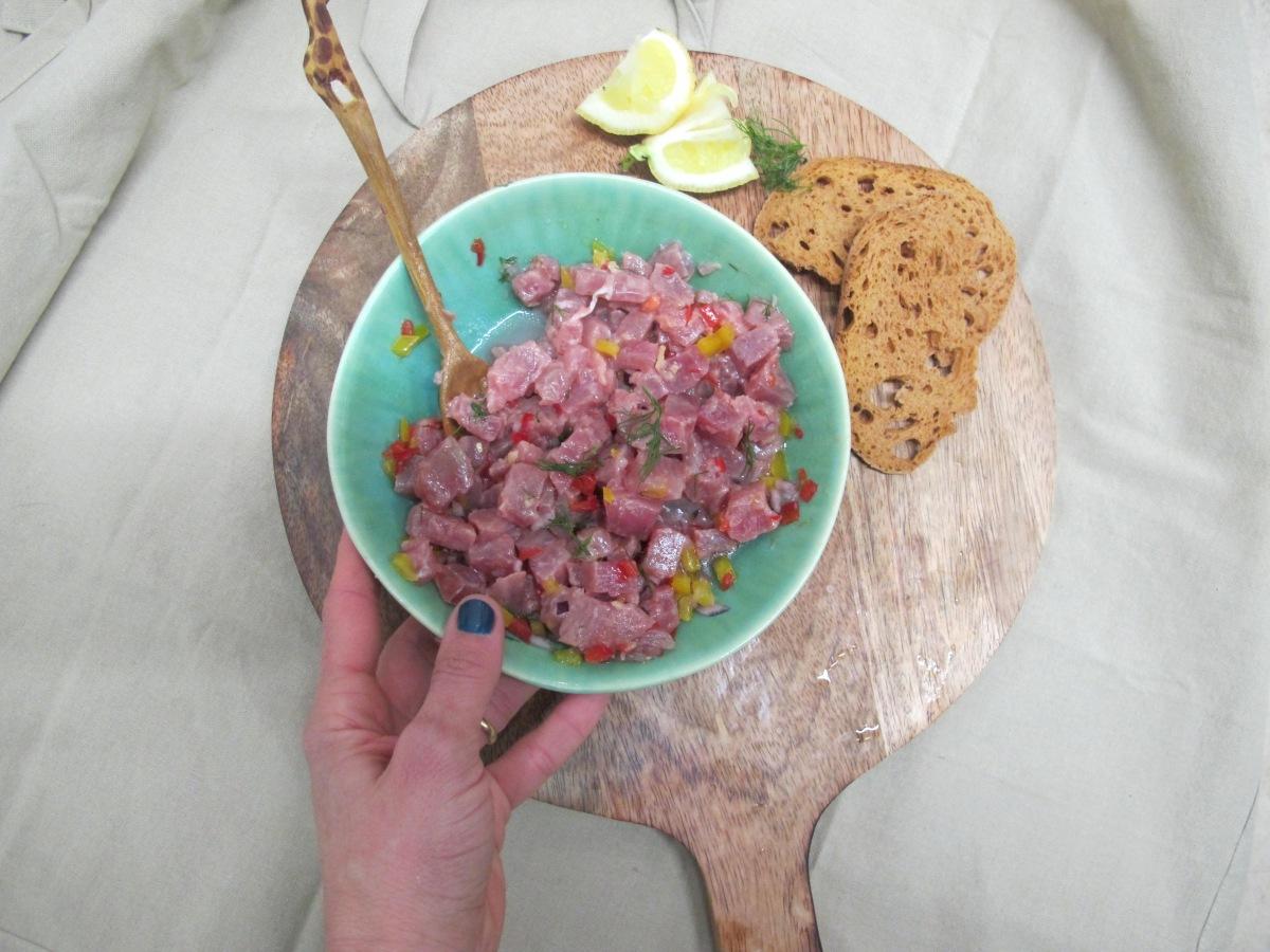 A simplicidade de um ceviche de atum `puro´
