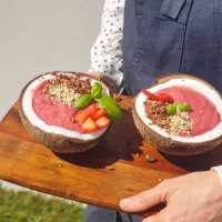 Receita. Smoothie Bowl de framboesa, couve flor e coco ❤